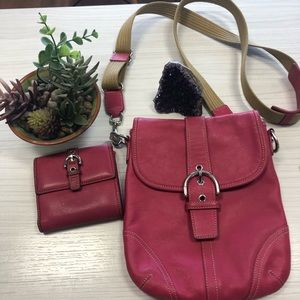 Coach leather magenta crossbody purse & wallet